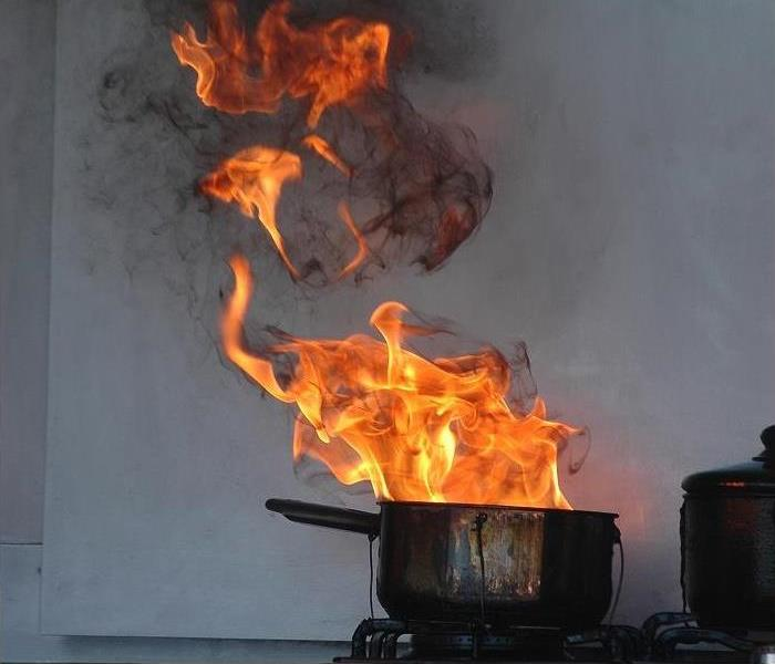 Cooking pan on stove Pan on fire,