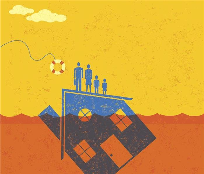 cartoon family standing on roof of floating house