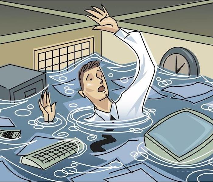 Cartoon depiction of a Businessman floating in cubicle full of water
