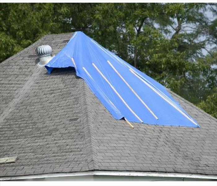 Roof with tarp